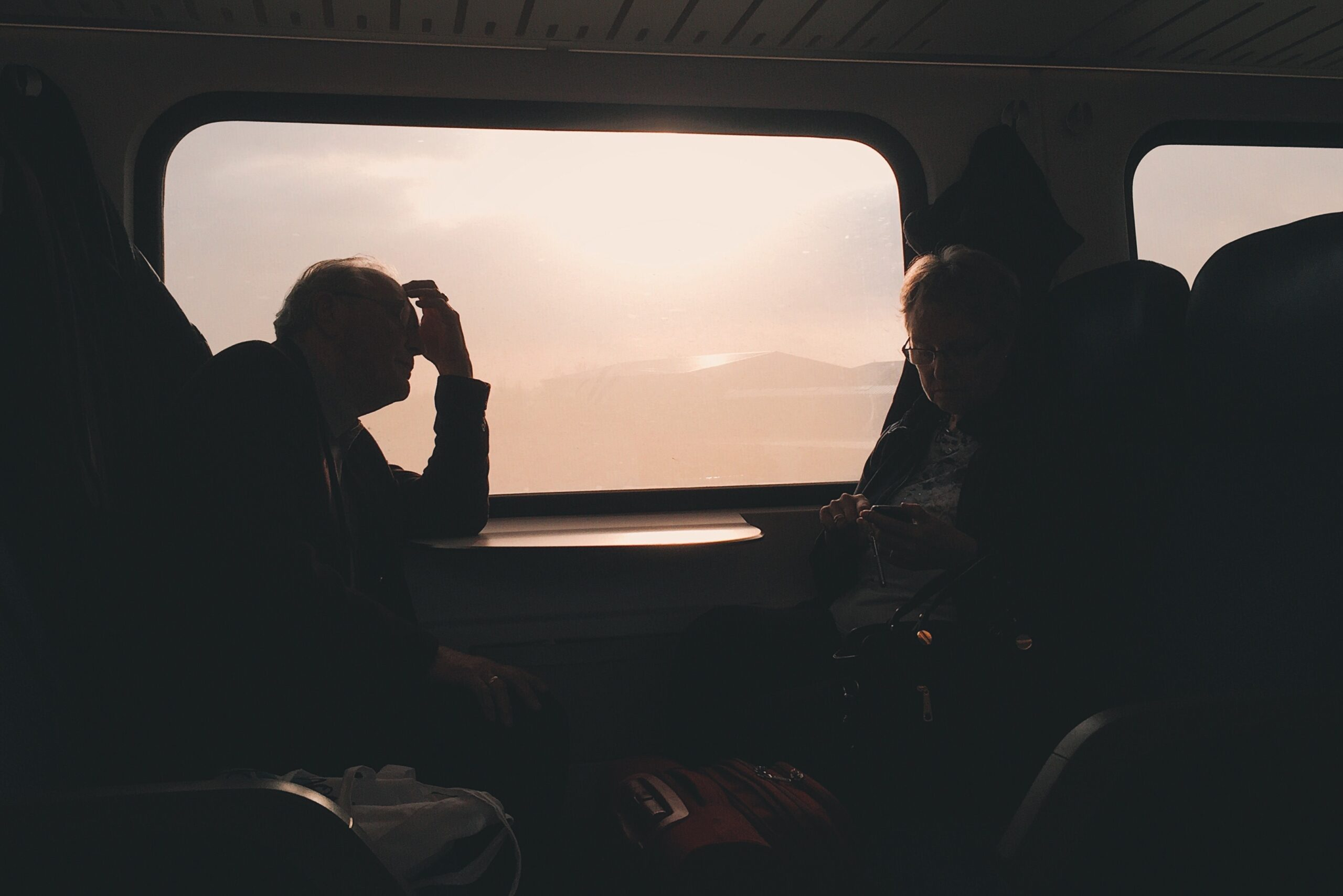 couple on a train