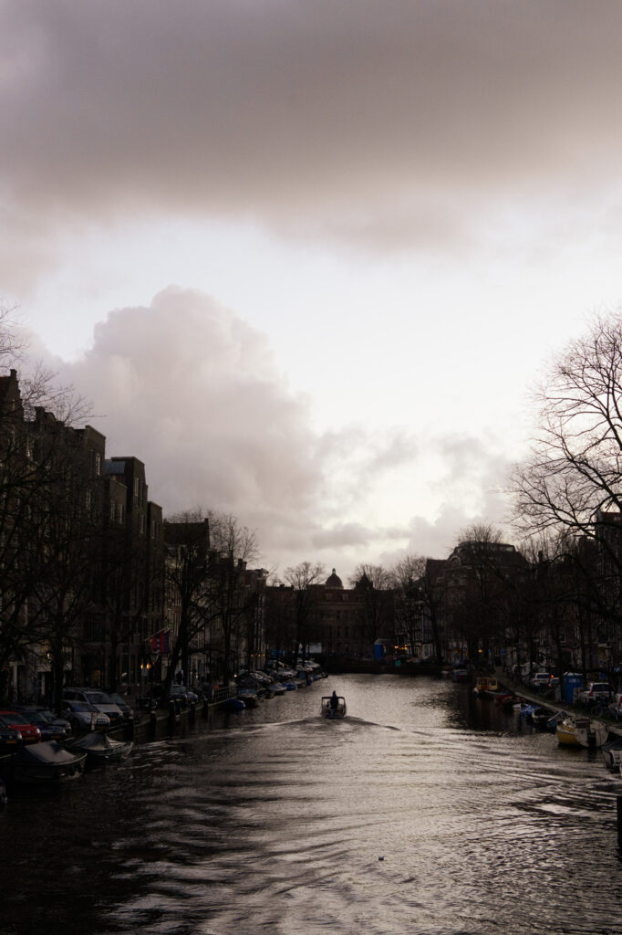pink cotton sky Amsterdam canal