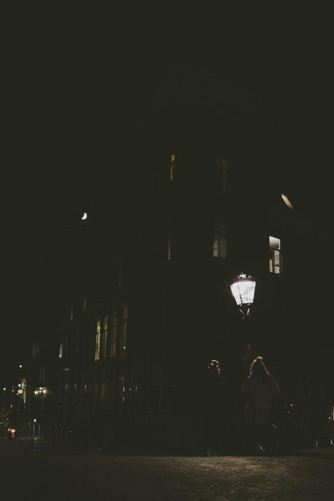 evening, streetlight and moonlight Amsterdam