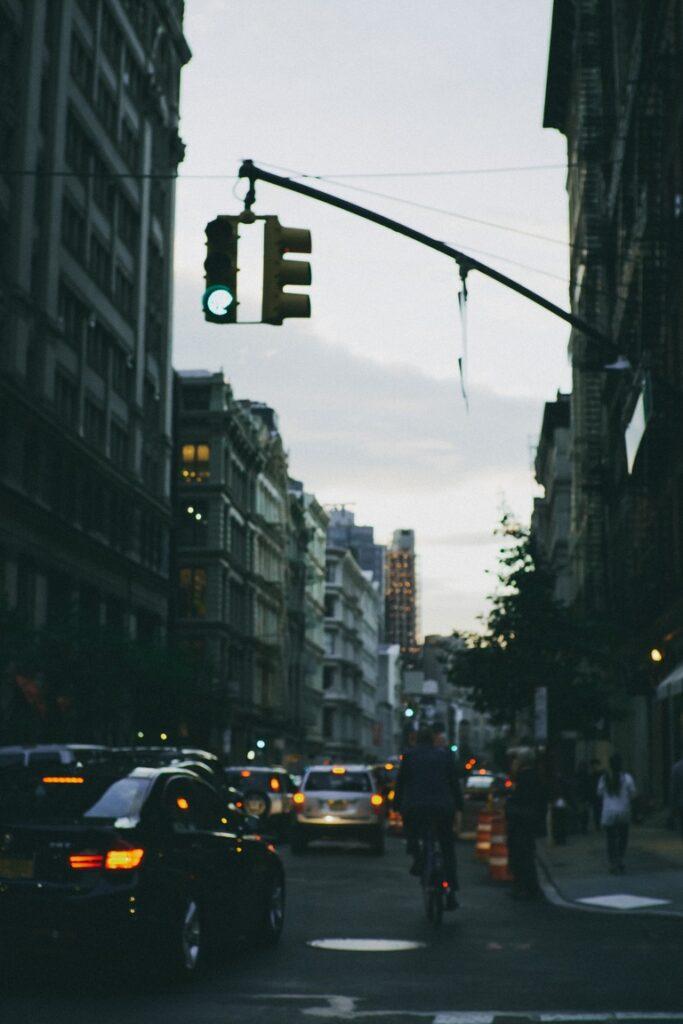 Manhattan during a twilight rush hour
