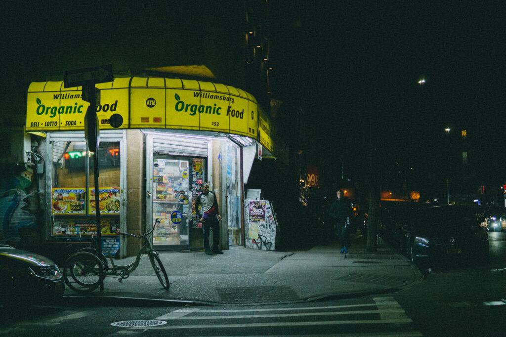 Williamsburg organic food bodega at night