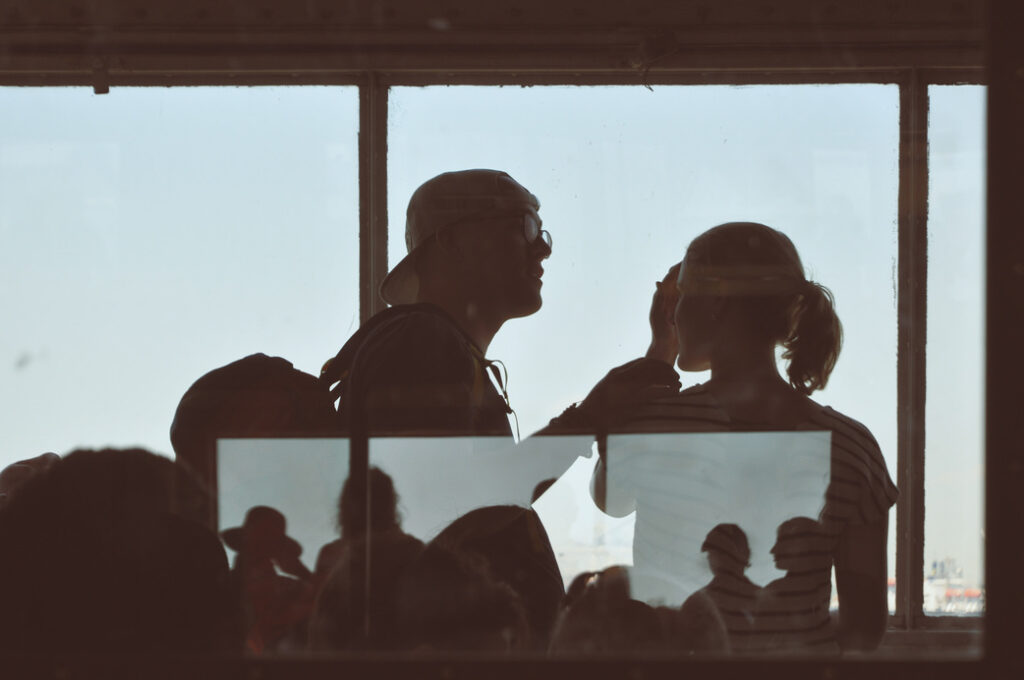 loving couple on a staten island ferry
