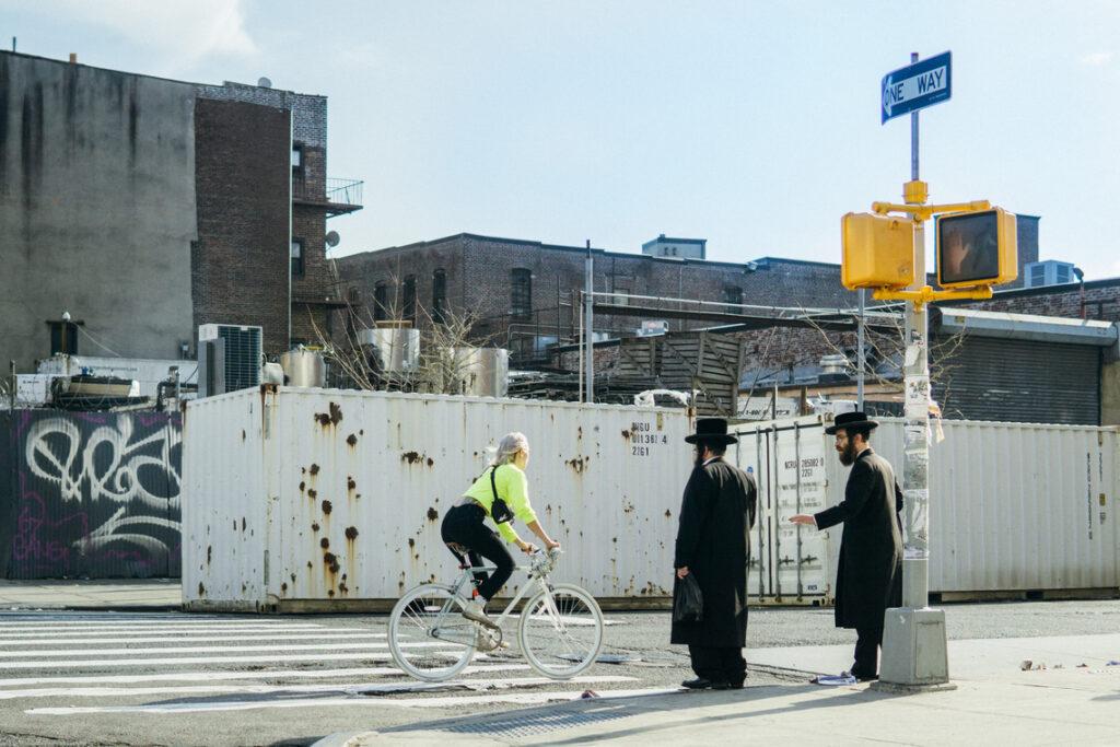 hasids and a female biker