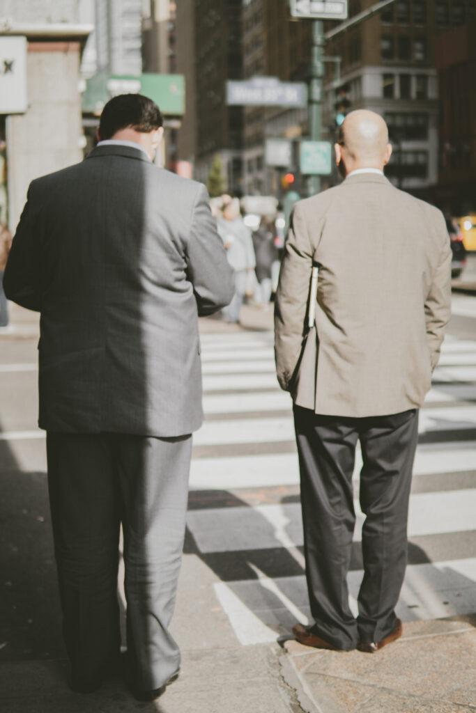 men in suits New York street