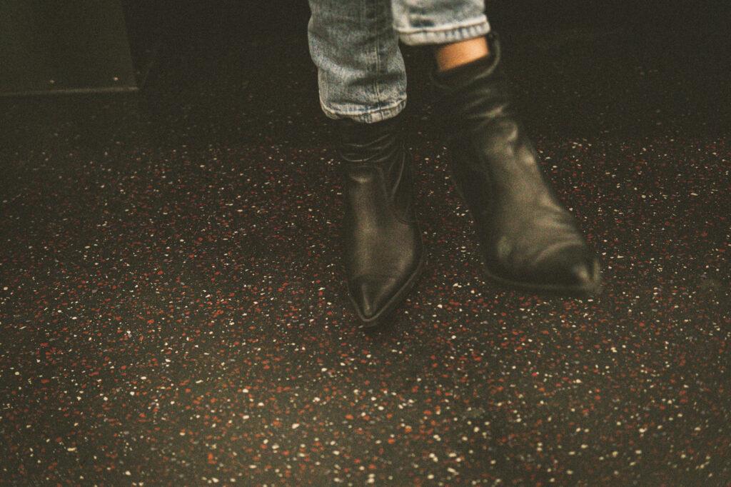NY subway funky boots