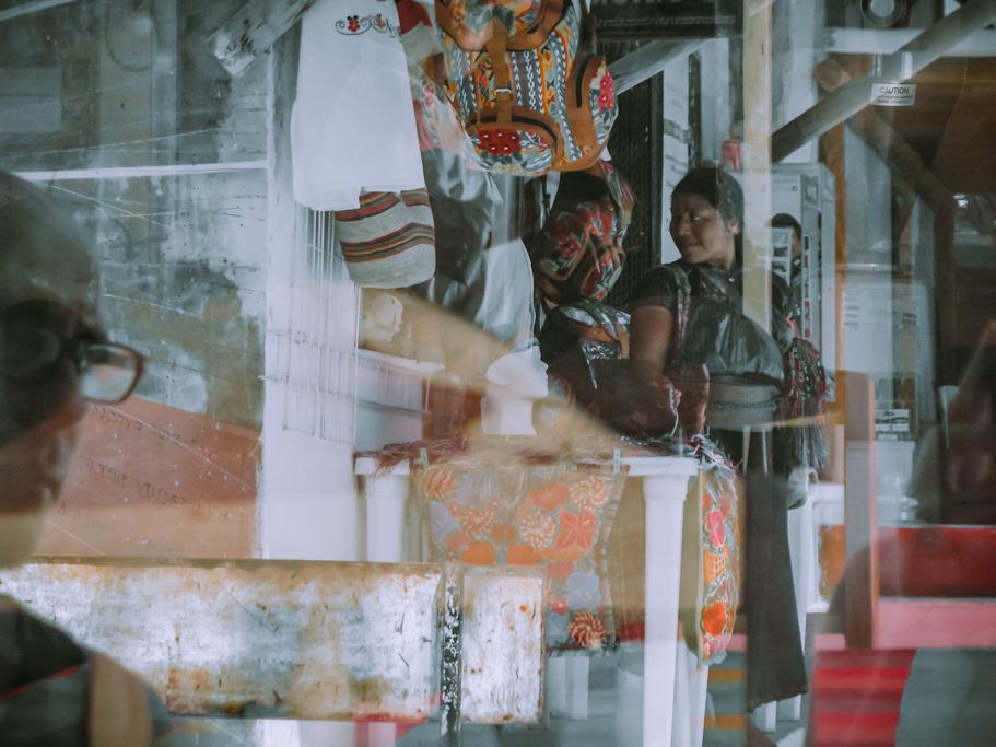 happy Mayan woman reflection