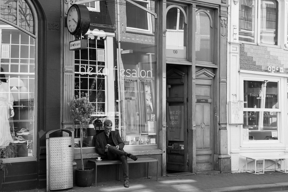 handsome man smoking in Amsterdam
